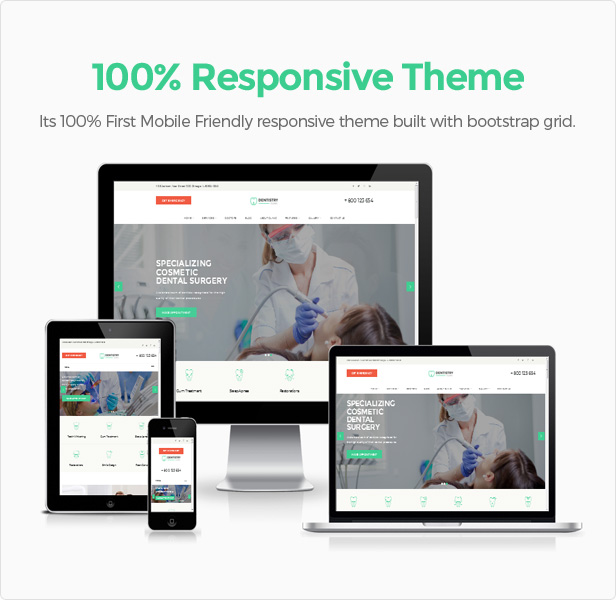 Dentist theme responsive design